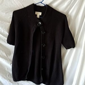 On black short sleeve button-down sweater